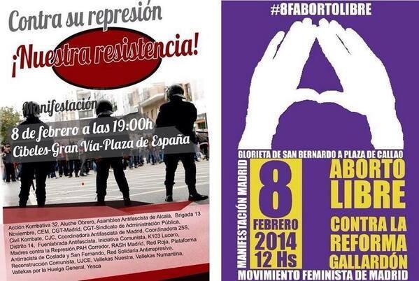 #8F 12h.-Manifestación Contra la reforma del Aborto 19h.-Manifestación antirepresiva